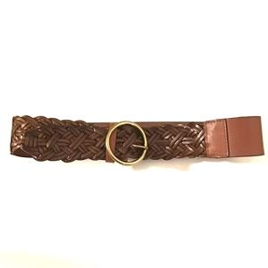 🎁Loft Wide Brown Braided Leather Belt
